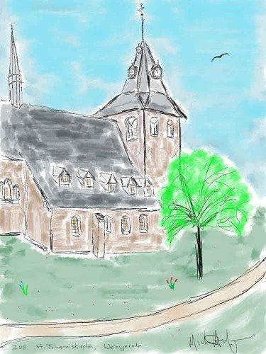 iPad watercolor of St Johannis Kirche Wernigerode