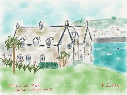 iPad watercolor created at St Michaels Mount