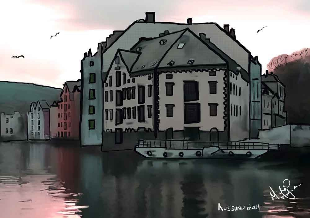 iPad watercolor of the Brosundet canal in Alesund