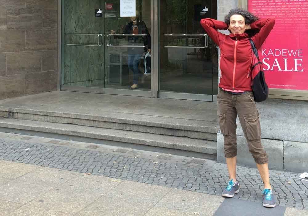Motion Light Houdi worn by Therese while traveling in Berlin.