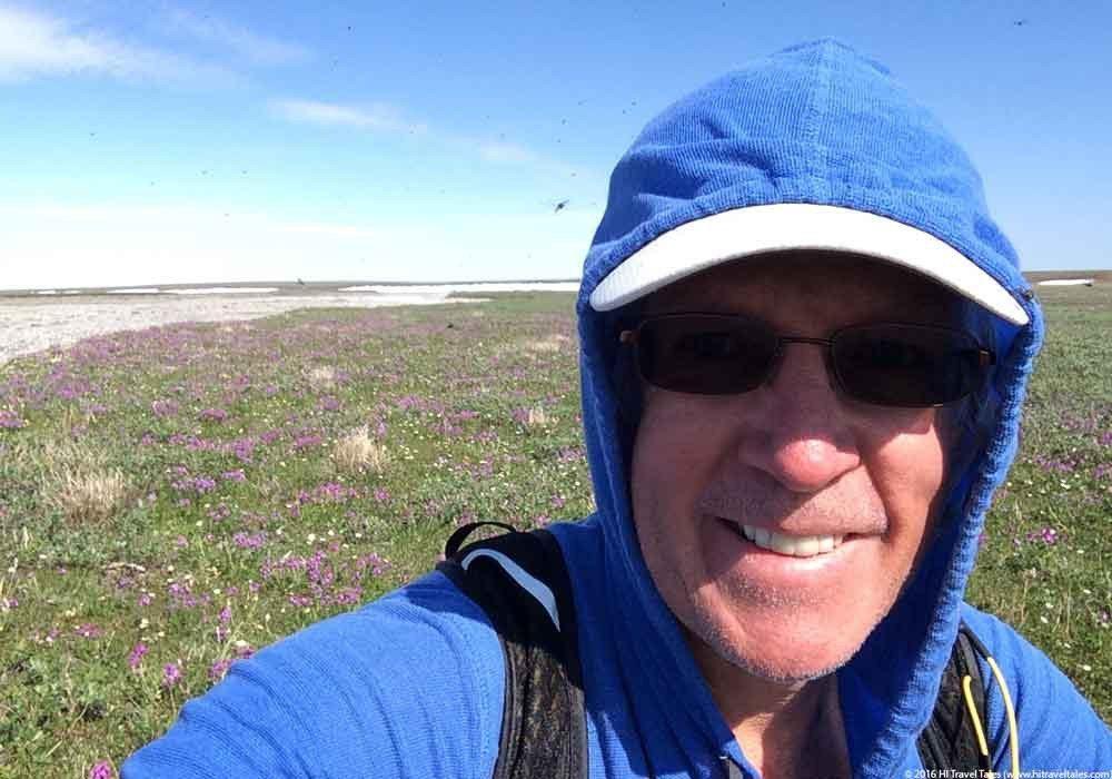 ExOfficio BugsAway hoodie protecting Michael from mosquito bites in Alaska