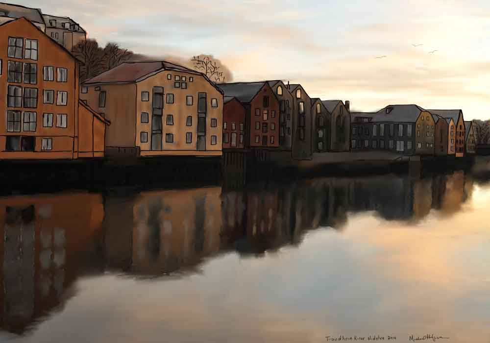 iPad Watercolor of the Trondheim Wharf Houses River Nidelva