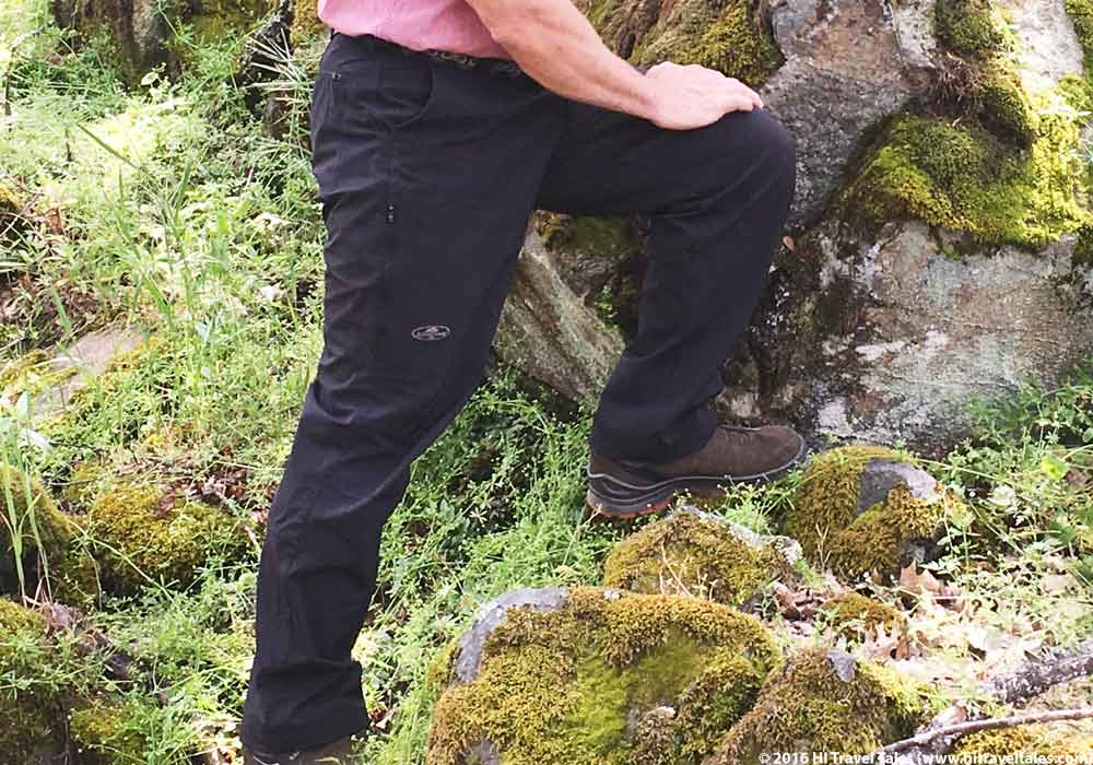 Arborwear Canopy pants close detail showing pockets and fit.