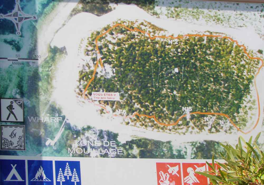 Signal Island sign showing a map of the island and trail.