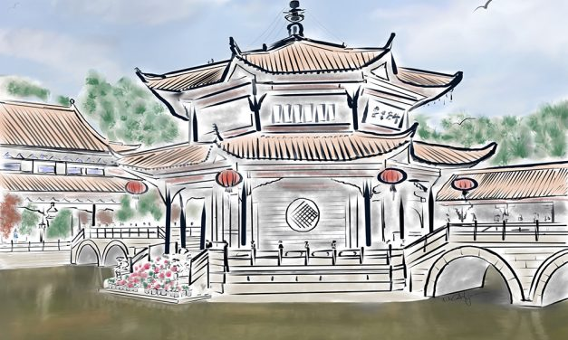 Yuantong Temple watercolor inspired by tranquility