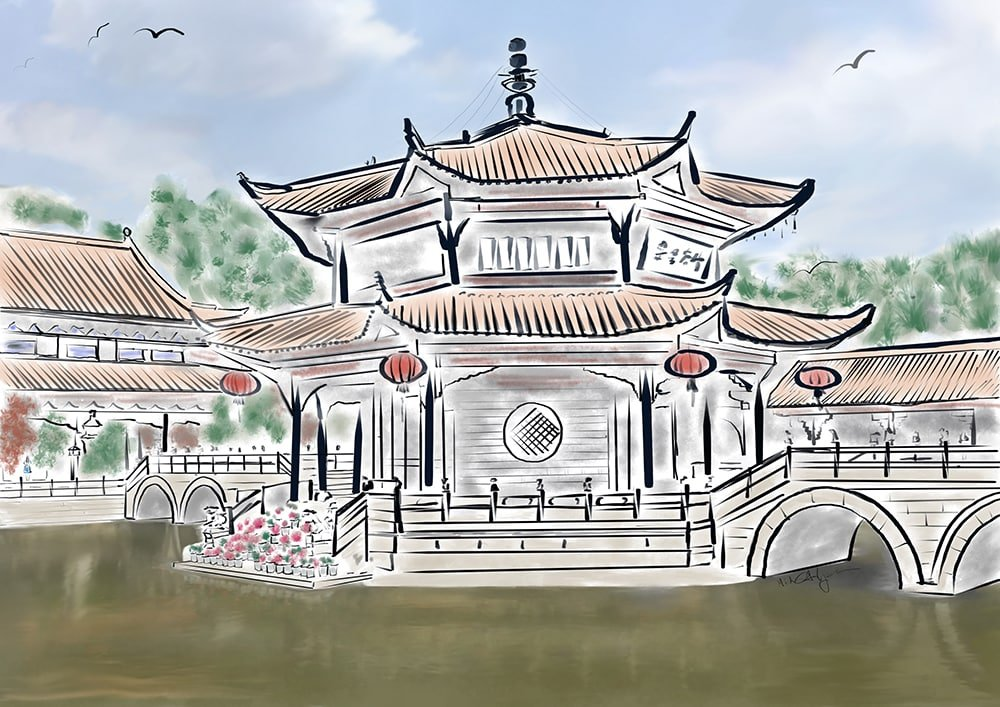 Yuantong Temple Watercolor inspired by tranquility in Kunming, China