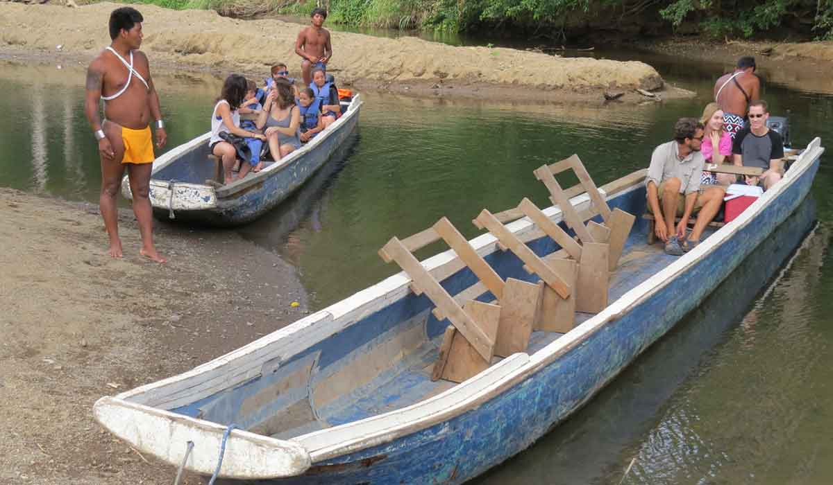 Enjoying a trip in dugout canoes as we travel in Panama.