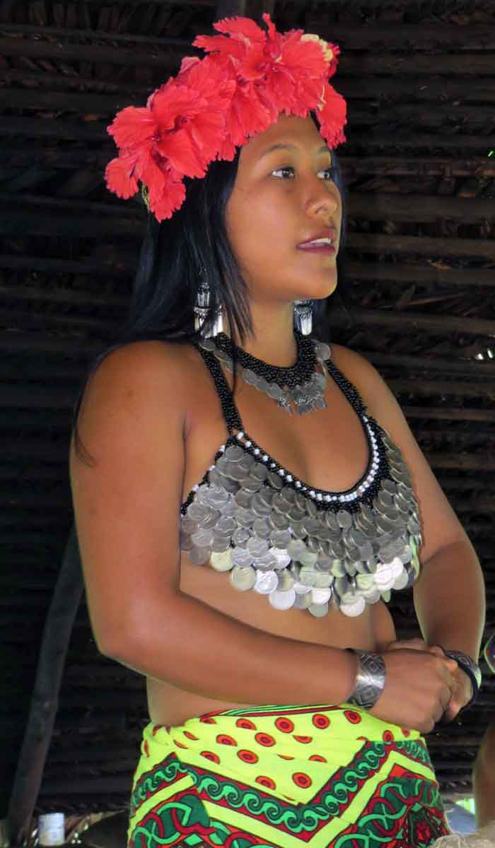 We visit with Embera women in traditional costume on a travels to Panama.