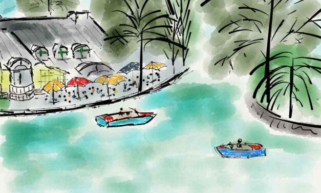 Kleinhesseloher See Englischer Garten watercolor