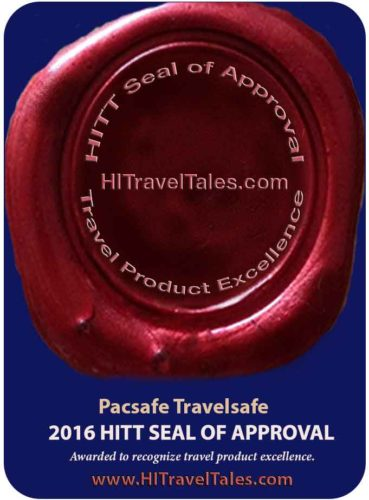 Pacsafe Travelsafe HITT Seal of Approval for travel product excellence.