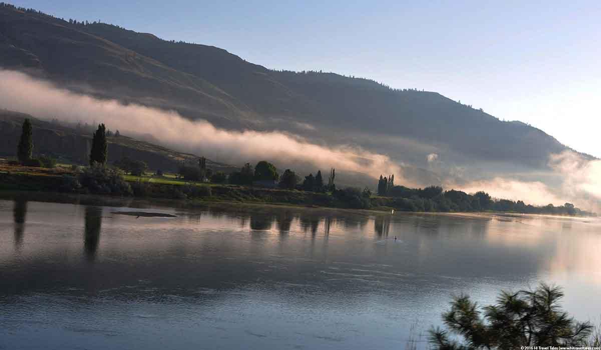 sunrise along the Thompson River just outside Kamloops, British Columbia