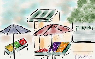 A colorful market watercolor near Café Anna Blume