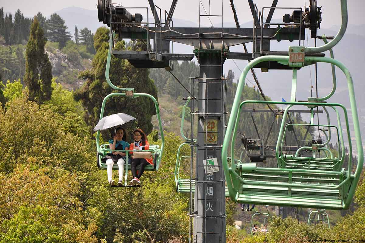 The cable car option to get you up the mountain at Western Hills Xishan Park