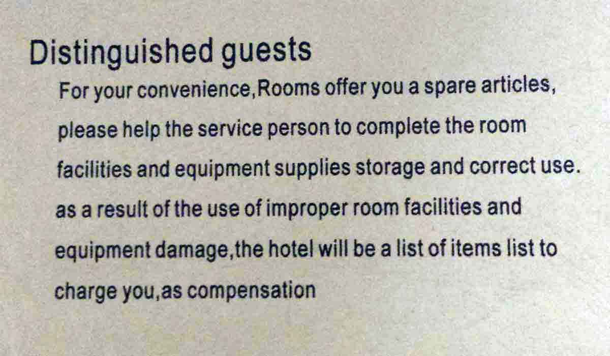 Lost In Translation Funny Chinese Instructions In Hotels