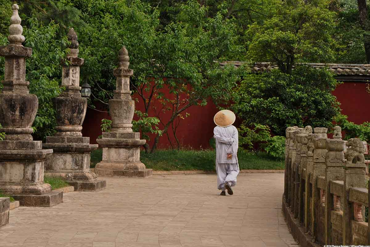 Huating Temple with monk in Western Hills Xishan Park