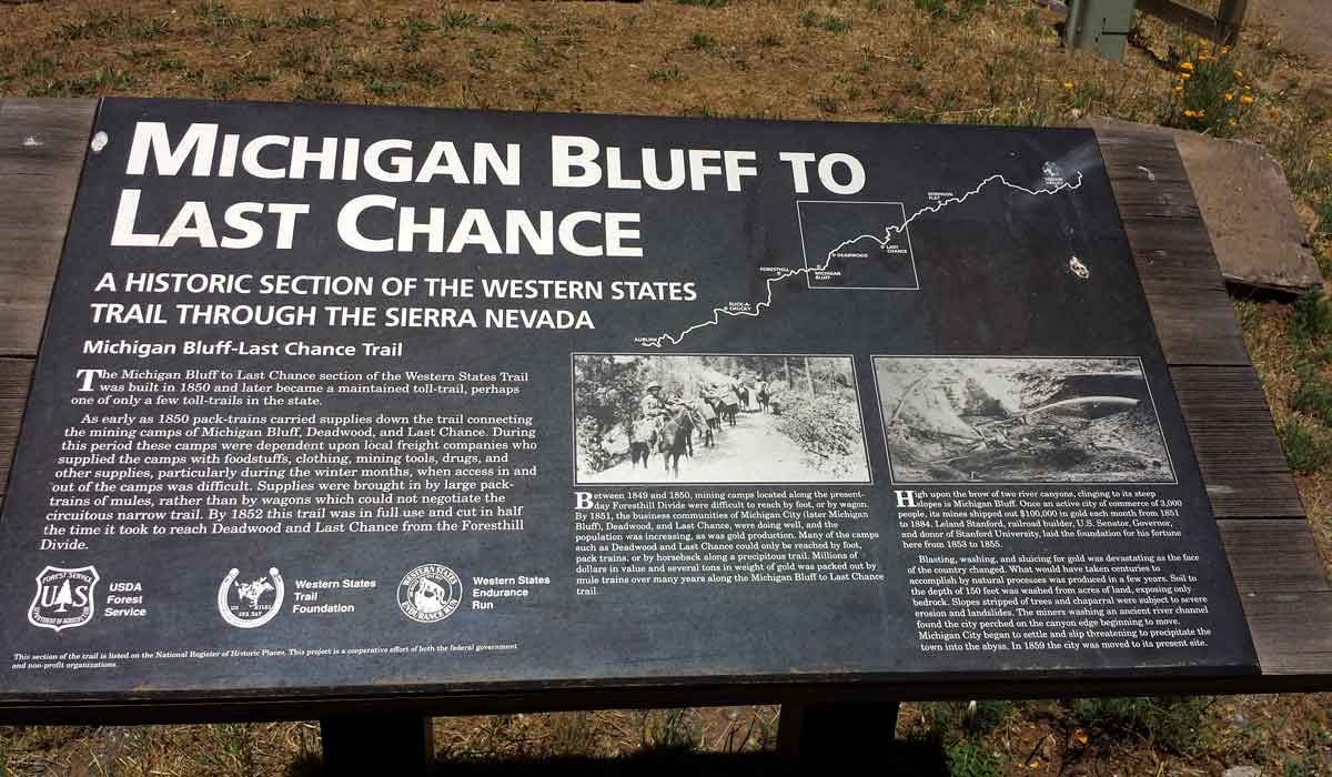 Historic sign for Michigan Bluff gold rush town.