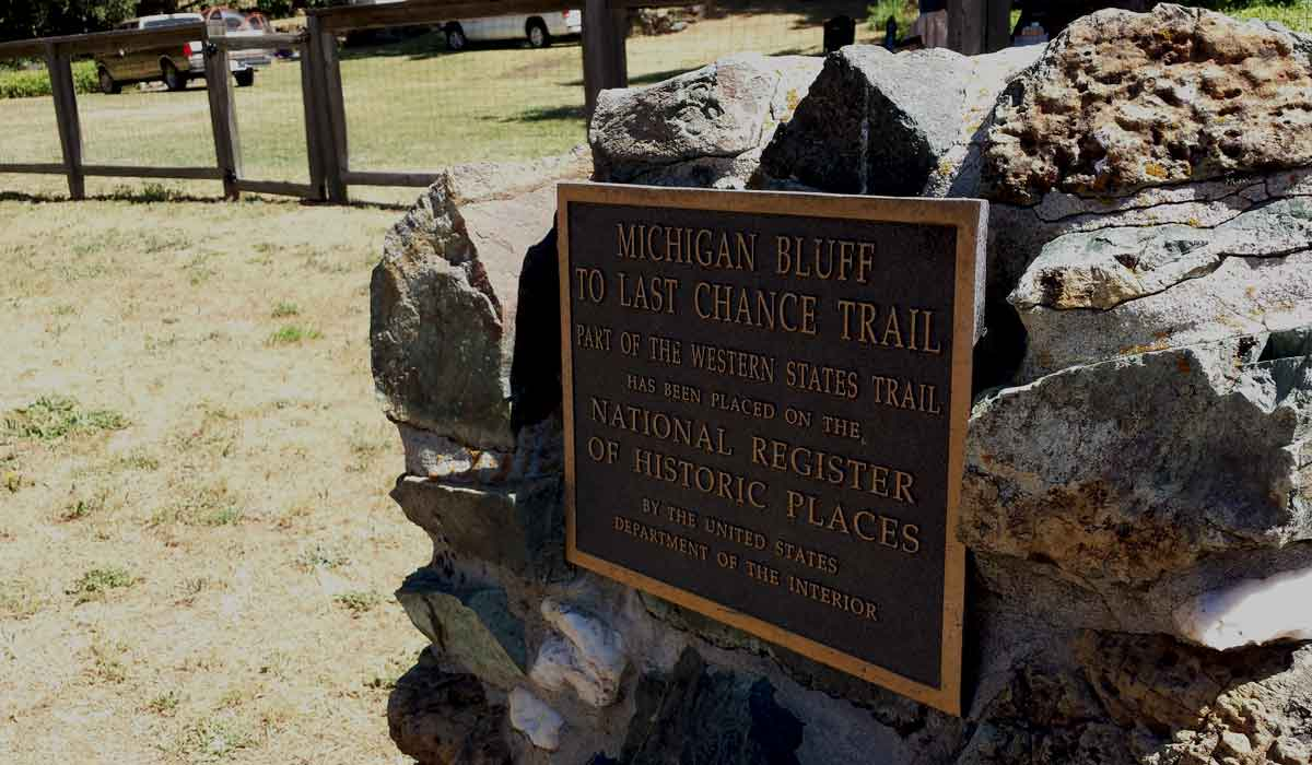 Gold rush town Michigan Bluff Western States 100 trail sign