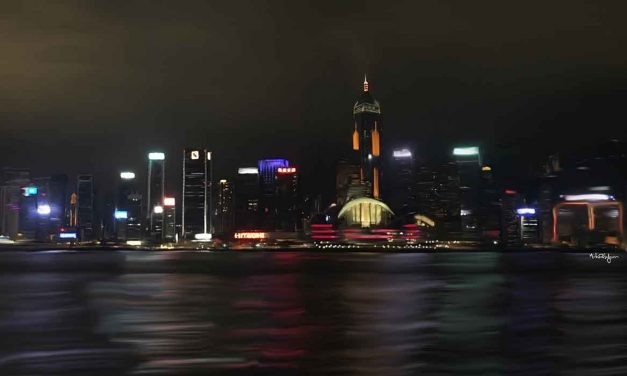 Spectacular Hong Kong skyline from Victoria Harbor waterfront