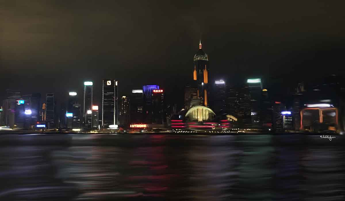 Michael Hodgson's artwork of the Hong Kong skyline at night.