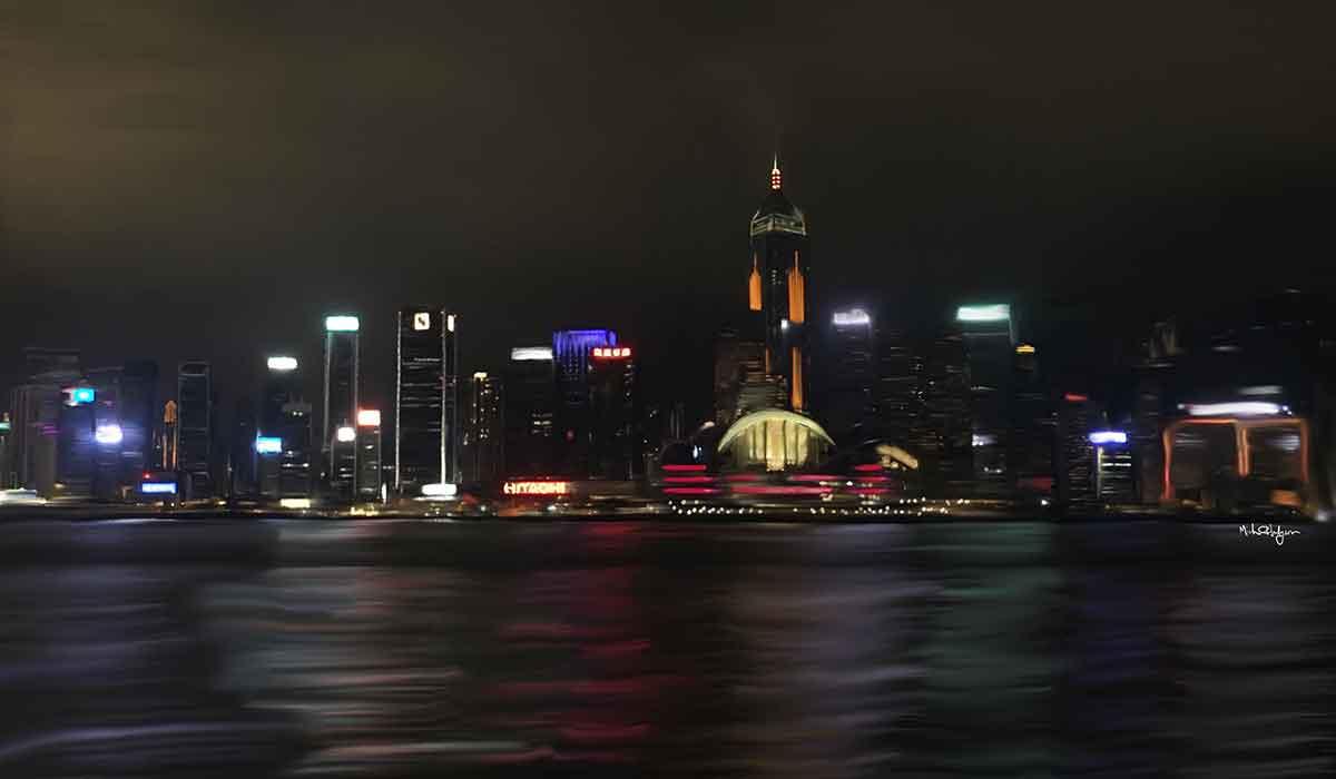 Michael Hodgson's artwork of the Hong Kong skyline at night.