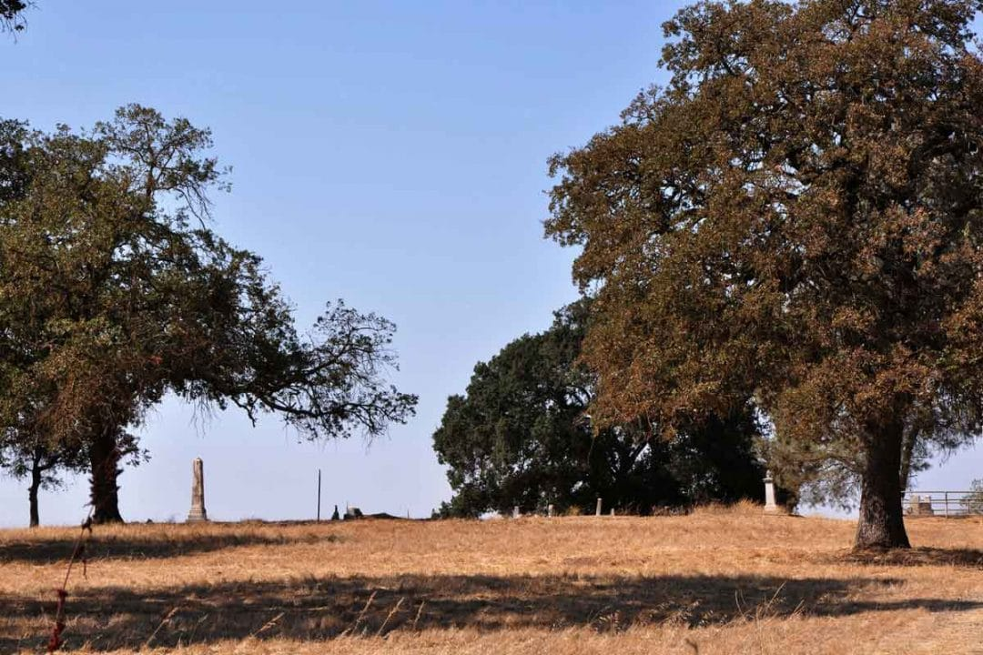 Liberty cemetery is visible from the 99 freeway.