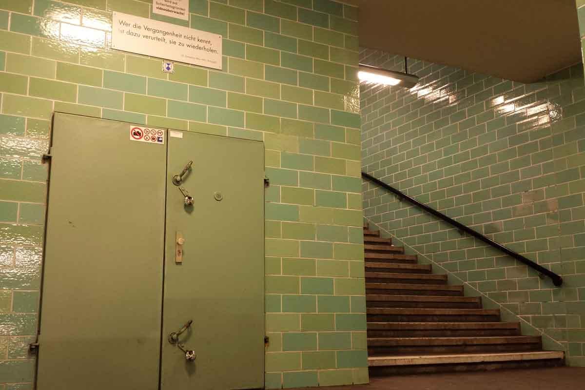 Berlin Underground Tour 1 enter through this green door.