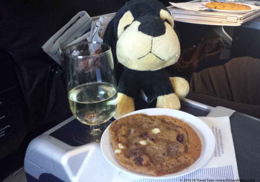 Maurice insists on cookies and wine which is not going to help in avoiding jet lag.