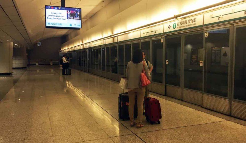 Hong Kong airport express platform.