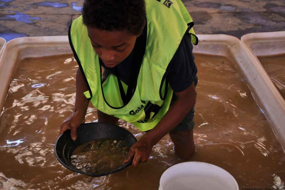 Children have a lot of fun panning for gold too at the World Gold Panning Championships.