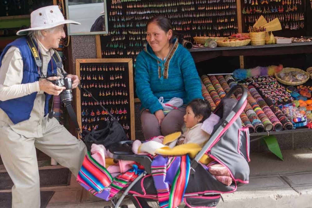 Buying handcrafted souvenirs in Bolivia.