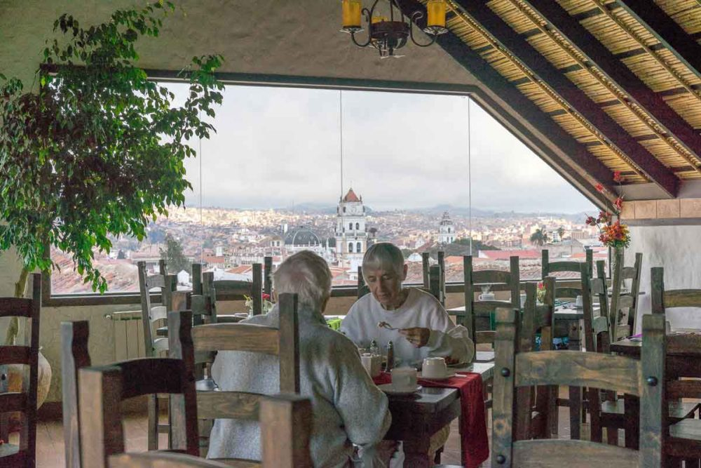 Beautiful hilltop view of Sucre from the hotel's restaurant.