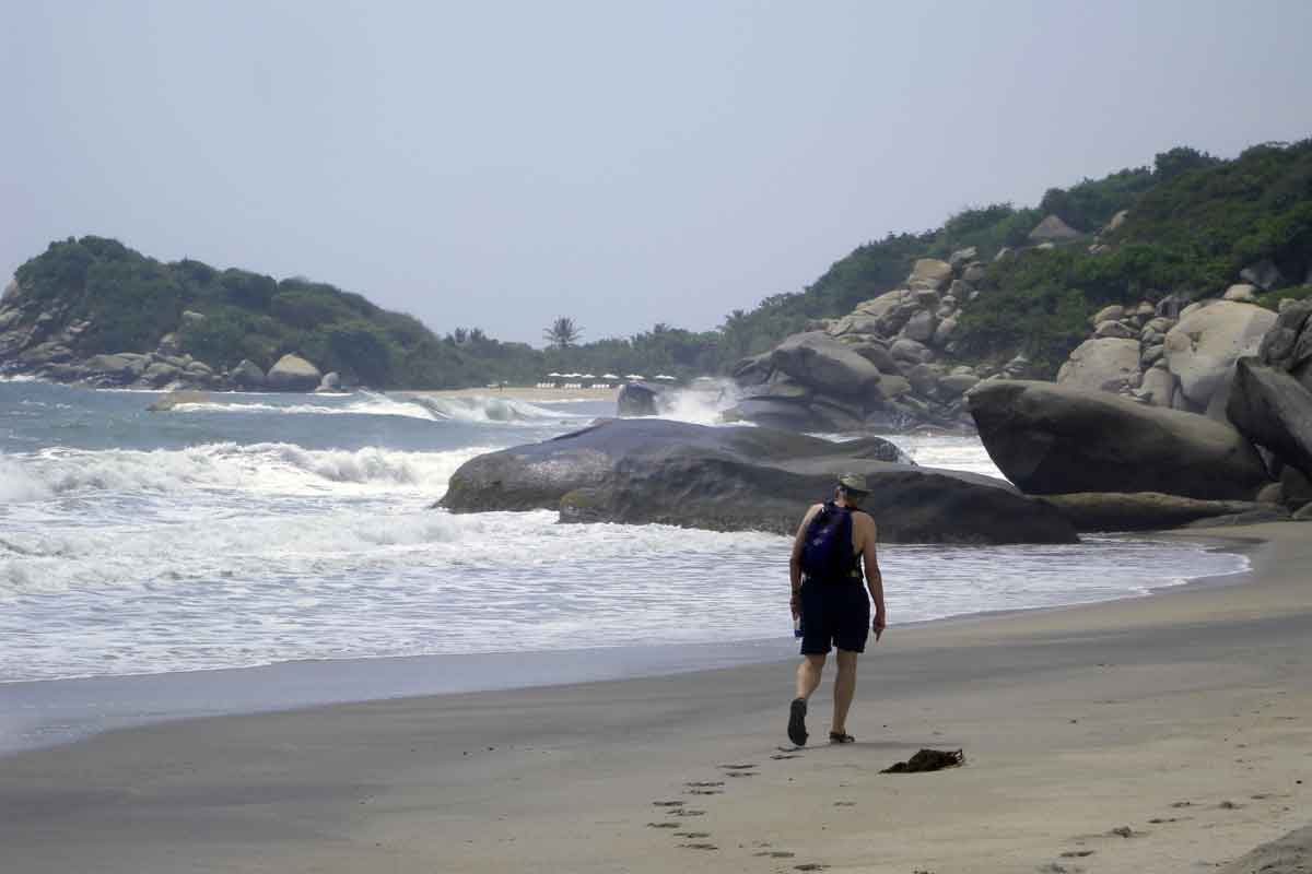 Walking along beaches when traveling in Colombia.