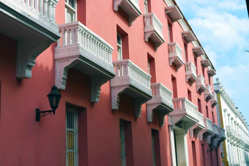 Cartagena Colombia colorful buildings and architecture.