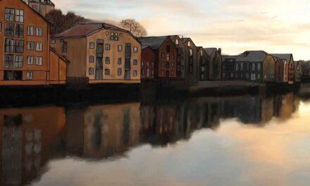Colorful Buildings Along Trondheim's Nidelva River Inspire Watercolor