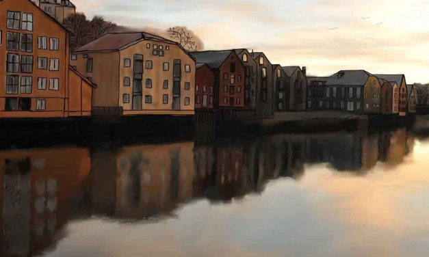 Colorful Buildings Along Trondheim's Nidelva River Inspire Watercolor