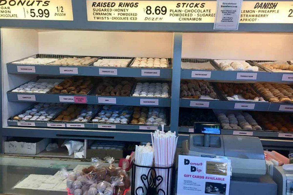 Staring at rows of doughnuts at the Donut Dip