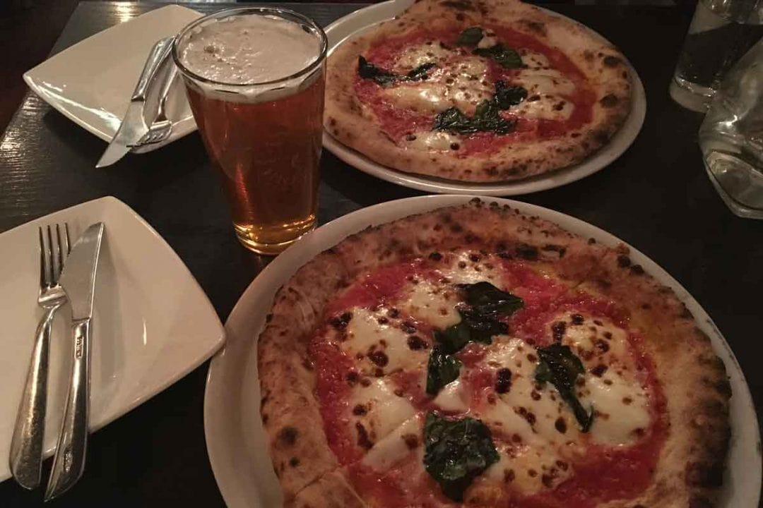 Pizza margherita at Mozzeria.