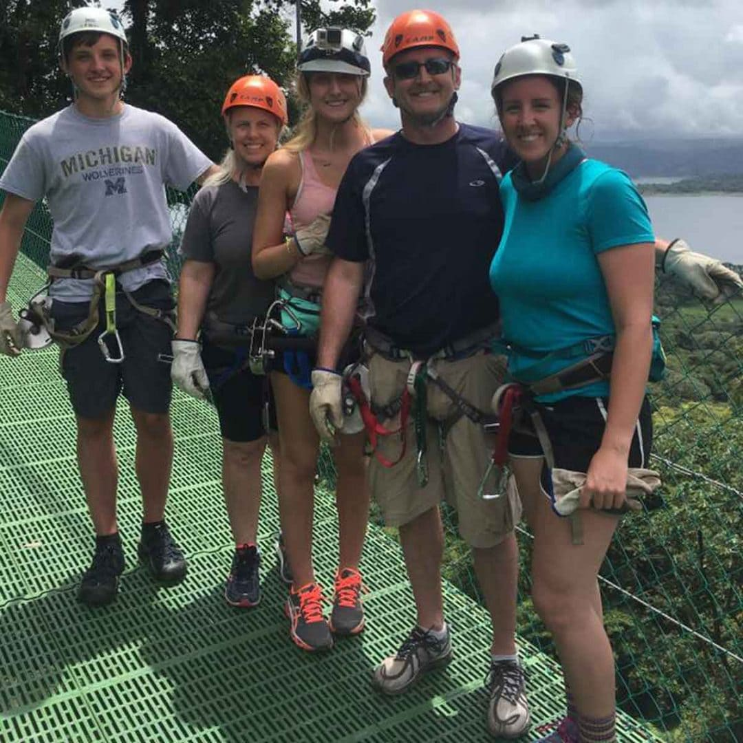 The Dalton family at Hanging Bridges in Costa Rica.