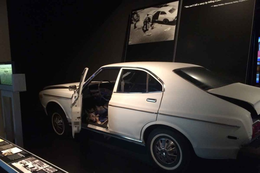 Newseum hosts real history, like the car destroyed by a mafia car bomb.