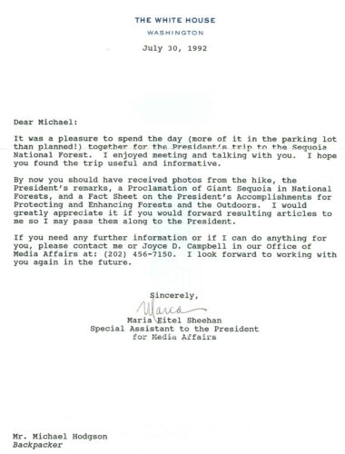 President Bush letter to Michael