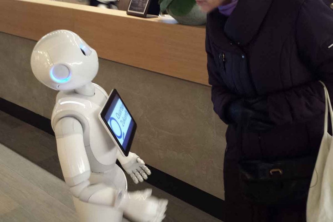 Q110 Bank robot asking how old a guest is.