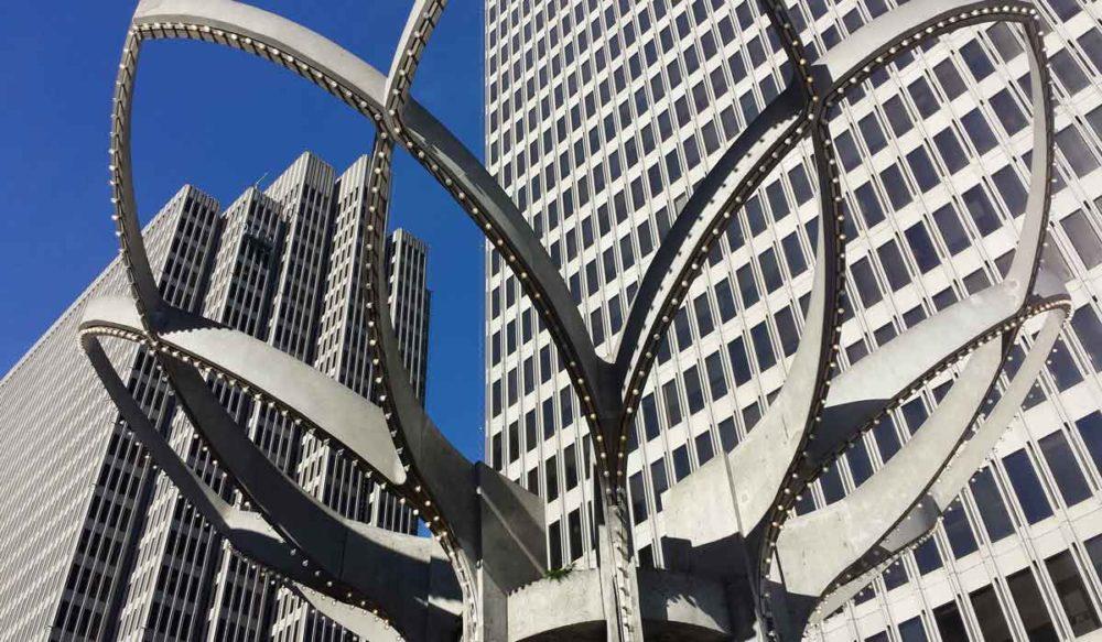 Looking up at a giant sculpture at Embarcadero Park in San Francisco.
