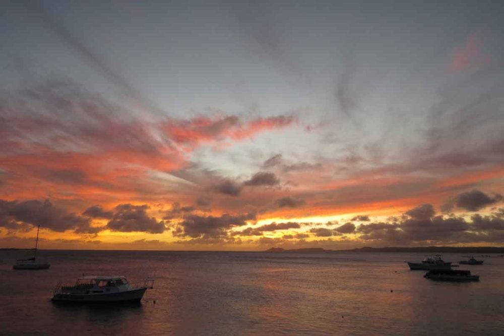 Sunset on Bonaire during a Family Dive Adventures program.