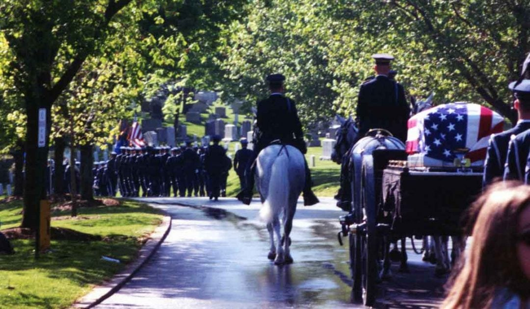 Arlington National Cemetery horse carriage military honors parade for Ara Mooradian.