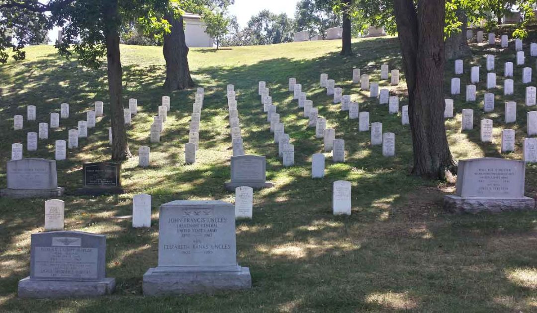 Arlington National Cemetery grave markers.