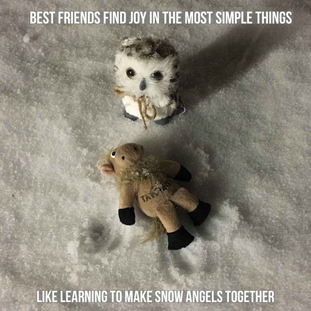 Travel with your best friend can lead to new experiences - like making snow angels together.