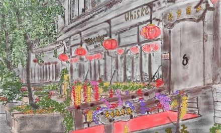 Whiskey and color inspires artwork in old town Lijiang, China