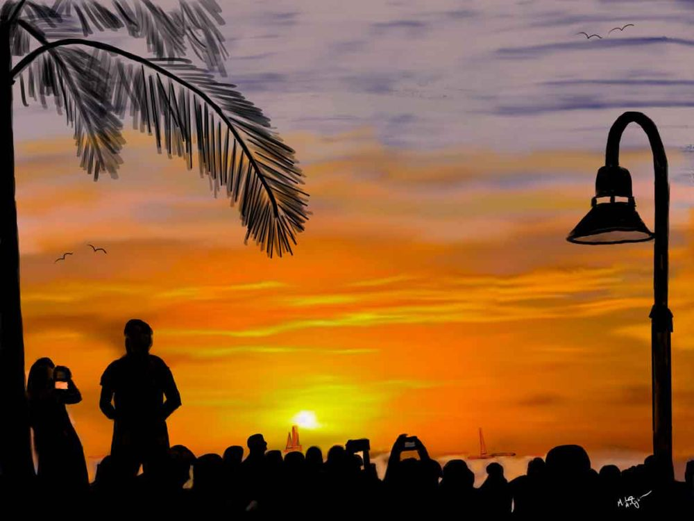Mallory Square Sunset artwork, created on an iPad.