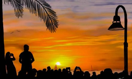 Mallory Square sunset celebration captured in bright colors