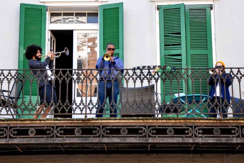 New Orleans Jazz Fest boys on the balcony.